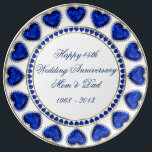 "45th Wedding Anniversary Porcelain Plate<br><div class=""desc"">A Digitalbcon Images Design featuring a Blue Sapphire and Gold color theme with a variety of custom images, shapes, patterns and styles in this one-of-a-kind &quot;Sapphire Wedding Anniversary&quot; Porcelain Plate. This colorful and elegant design comes complete with customizable text lettering to suit your own special occasion and makes the perfect...</div>"