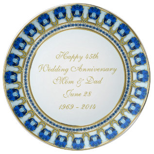 45th Wedding Anniversary Porcelain Plate at Zazzle