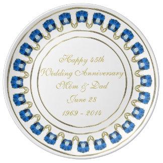 45th Wedding Anniversary Porcelain Plate