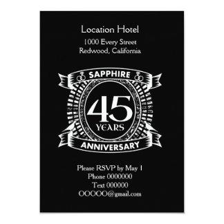 45th wedding anniversary sapphire crest card