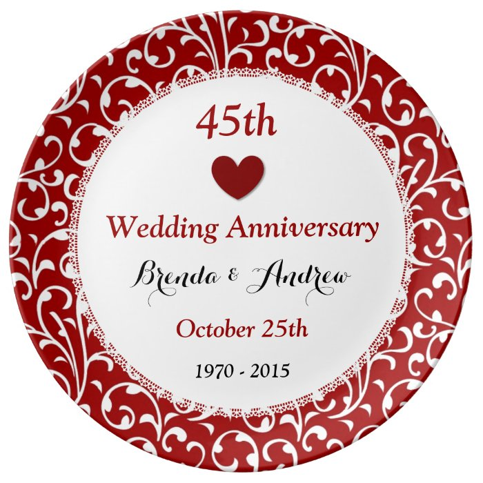 Th wedding anniversary sapphire red damask a dinner