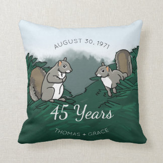 45th Wedding Anniversary Squirrels Throw Pillow