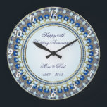 """45th Wedding Anniversary Wall Clock<br><div class=""""desc"""">A Digitalbcon Images Design featuring a Sapphire Blue and Gold Color Wall Clock Design with a variety of custom images, shapes, patterns, styles and fonts in this one-of-a-kind &quot;Sapphire Wedding Anniversary&quot; Wall Clock. This elegant and attractive design comes complete with customizable text lettering on the clock face to suit your...</div>"""