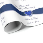 """45th Wedding Anniversary Wrapping Paper<br><div class=""""desc"""">A Digitalbcon Images Design featuring a sapphire blue and white color design theme with a variety of custom images, shapes, patterns, styles and fonts in this one-of-a-kind &quot;45th Wedding Anniversary Design&quot;. With this attractive and elegant design choice you&#39;ll have all your decorations, gift ideas and party favors all coordinated together...</div>"""