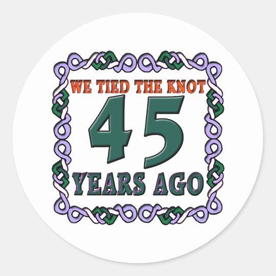45thweddinganniversary classic round sticker