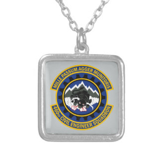 460th Civil Engineer Squadron Silver Plated Necklace