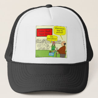 462 Where do you keep the placebos Color Cartoon Trucker Hat