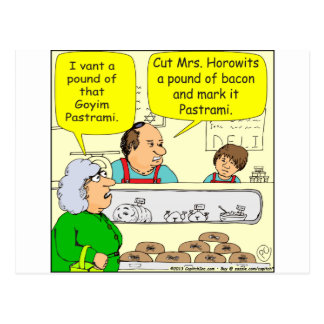 463 kosher bacon Goyem pastrami Cartoon Postcard