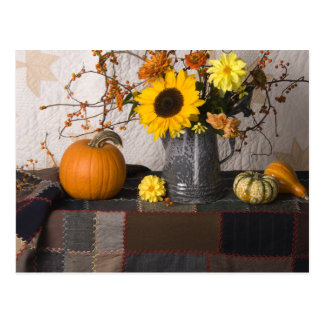 4684 Autumn Still Life with Quilts Postcard