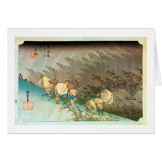 46. 庄野宿, 広重 Shōno-juku, Hiroshige, Ukiyo-e Greeting Card