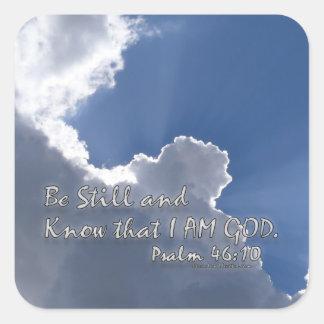 46:10 del salmo calcomanías cuadradas personalizadas