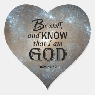 46:10 del salmo pegatina en forma de corazón