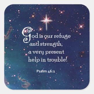 46:1 del salmo pegatina cuadrada