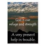 46:1 del salmo - salida del sol hermosa sobre el l tarjeta postal