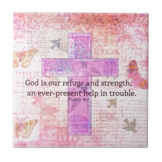 46:1 del salmo - verso Encouraging de la biblia 3 Azulejo Cuadrado Pequeño