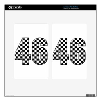 46 checkered number kindle fire decal