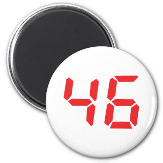 46 fourty-six red alarm clock digital number 2 inch round magnet