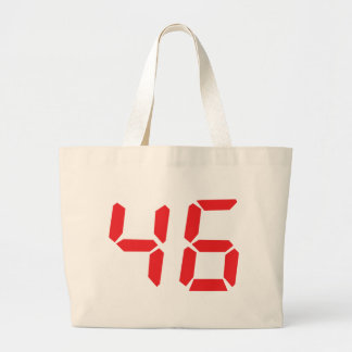 46 fourty-six red alarm clock digital number tote bag