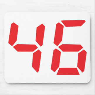 46 fourty-six red alarm clock digital number mouse pad