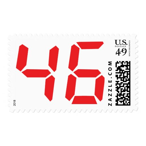 46 fourty-six red alarm clock digital number postage stamp