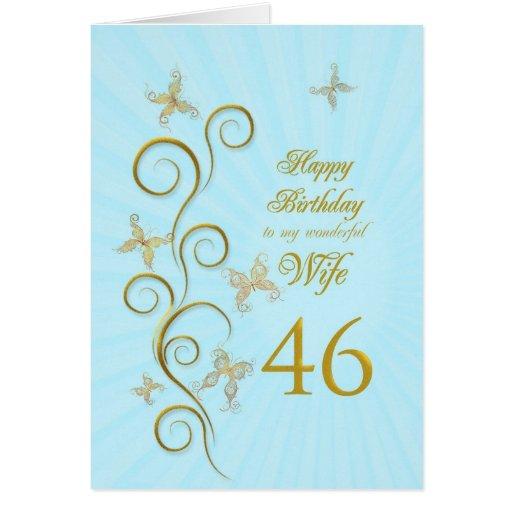 46.o cumpleaños de la esposa con las mariposas de tarjeta de felicitación