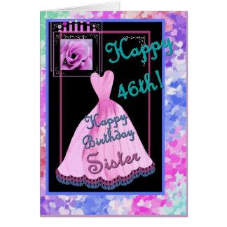 46 o Vestido y corazones de la hermana del cumplea Felicitación
