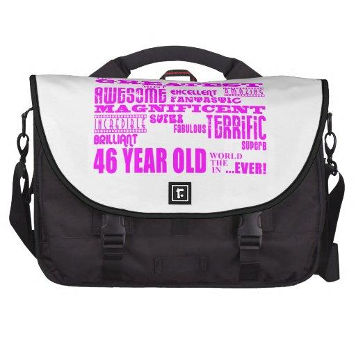 46.os cumpleaños cuarenta y seis más grande rosado bolsas para portátil