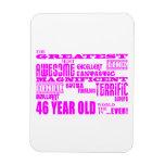 46.os cumpleaños cuarenta y seis más grande rosado iman de vinilo