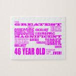 46.os cumpleaños cuarenta y seis más grande rosado rompecabezas con fotos