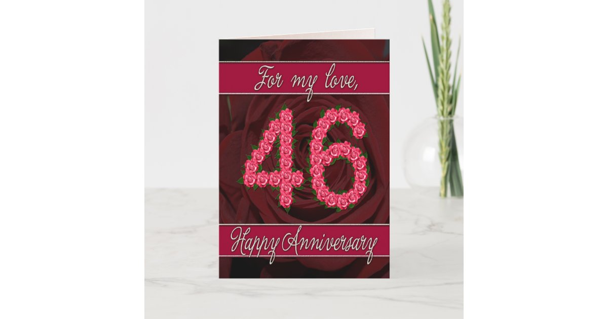 46th Wedding Anniversary Gift: 46th Anniversary Card With Roses And Leaves