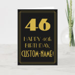 "[ Thumbnail: 46th Birthday ~ Art Deco Inspired Look ""46"" & Name Card ]"