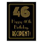 "[ Thumbnail: 46th Birthday: Art Deco Inspired Look ""46"" + Name Card ]"