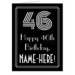 "[ Thumbnail: 46th Birthday — Art Deco Inspired Look ""46"" + Name Card ]"