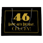 "[ Thumbnail: 46th Birthday — Art Deco Inspired Look ""46"" & Name Gift Bag ]"