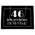 "[ Thumbnail: 46th Birthday: Art Deco Inspired Style ""46"", Name Gift Bag ]"