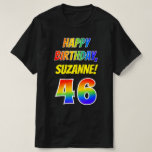 [ Thumbnail: 46th Birthday — Bold, Fun, Rainbow 46, Custom Name T-Shirt ]