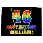 [ Thumbnail: 46th Birthday: Bold, Fun, Simple, Rainbow 46 Gift Bag ]