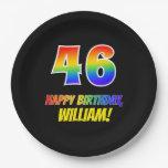 [ Thumbnail: 46th Birthday: Bold, Fun, Simple, Rainbow 46 Paper Plate ]