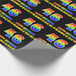 [ Thumbnail: 46th Birthday: Bold, Fun, Simple, Rainbow 46 Wrapping Paper ]