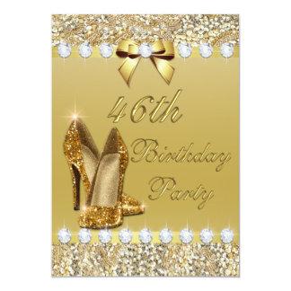 46th Birthday Classy Gold Heels Sequins Diamonds Card