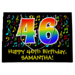 [ Thumbnail: 46th Birthday - Colorful Music Symbols, Rainbow 46 Gift Bag ]