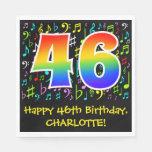 [ Thumbnail: 46th Birthday - Colorful Music Symbols, Rainbow 46 Napkins ]