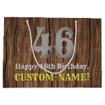 [ Thumbnail: 46th Birthday: Country Western Inspired Look, Name Gift Bag ]
