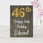 [ Thumbnail: 46th Birthday: Elegant Faux Gold Look #, Faux Wood Card ]