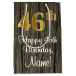 [ Thumbnail: 46th Birthday: Elegant Faux Gold Look #, Faux Wood Gift Bag ]