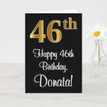 [ Thumbnail: 46th Birthday ~ Elegant Luxurious Faux Gold Look # Card ]