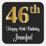 [ Thumbnail: 46th Birthday – Elegant Luxurious Faux Gold Look # Sticker ]