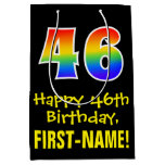"[ Thumbnail: 46th Birthday: Fun, Bold, Colorful, Rainbow ""46"" Gift Bag ]"