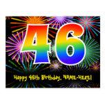 [ Thumbnail: 46th Birthday – Fun Fireworks Pattern + Rainbow 46 Postcard ]