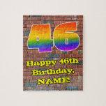 [ Thumbnail: 46th Birthday: Fun Graffiti-Inspired Rainbow 46 Jigsaw Puzzle ]